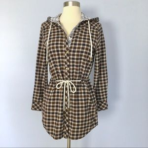 Simply Noelle Plaid Flannel Hooded Tunic Shirt